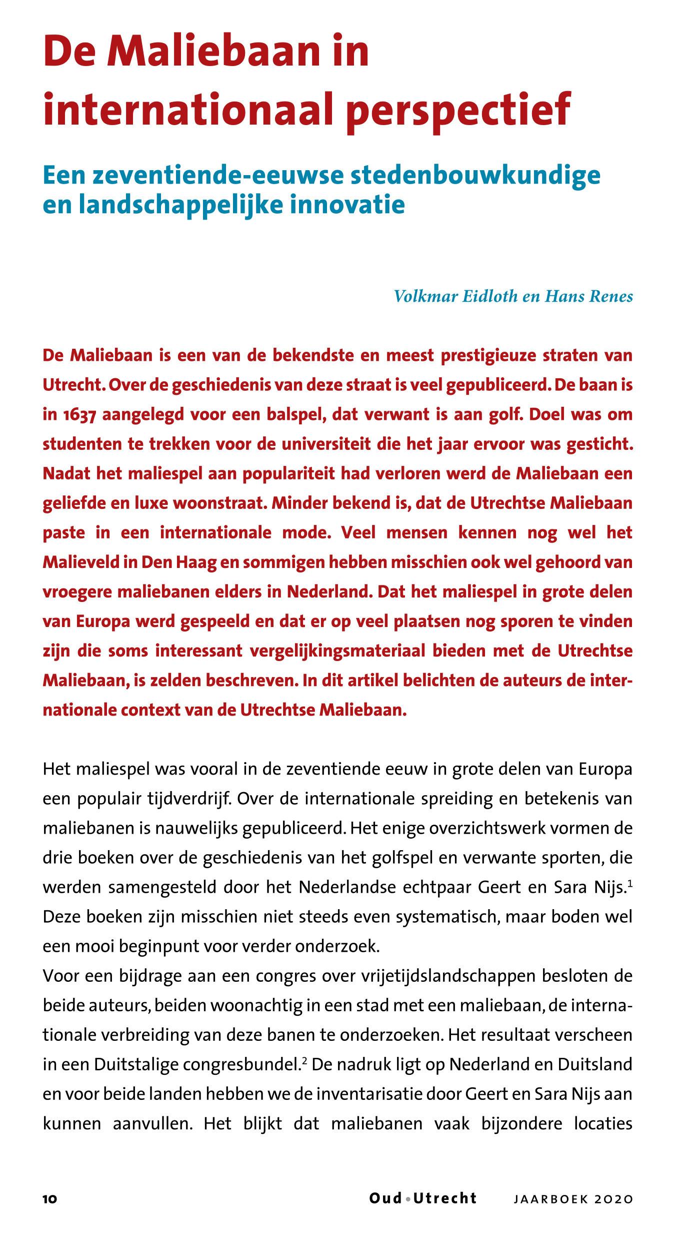 Volkmar Eidloth en Hans Renes, De Maliebaan in internationaal perspectief - 2020