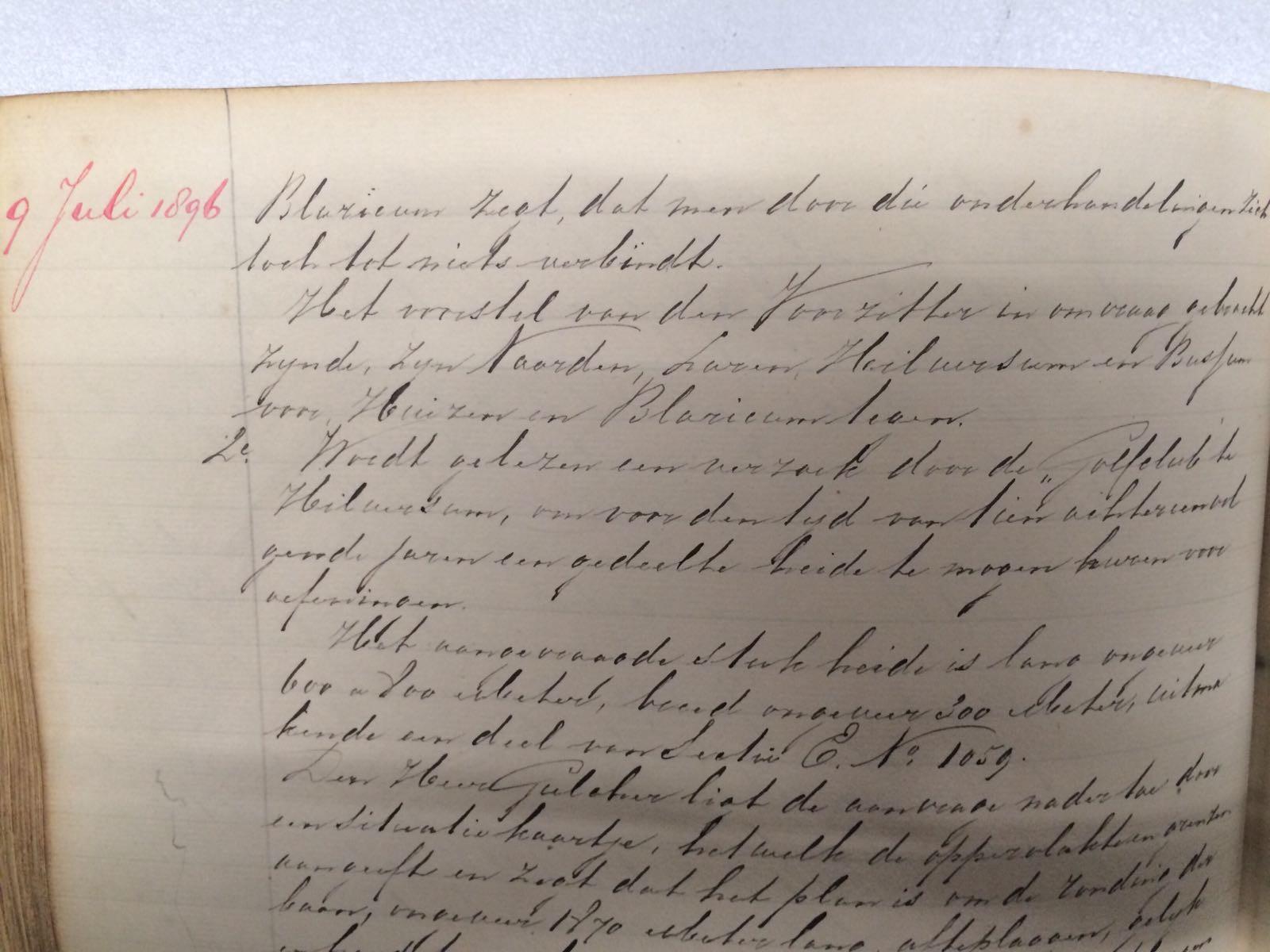 1896: Notulen Stad en Lande (9 juli)
