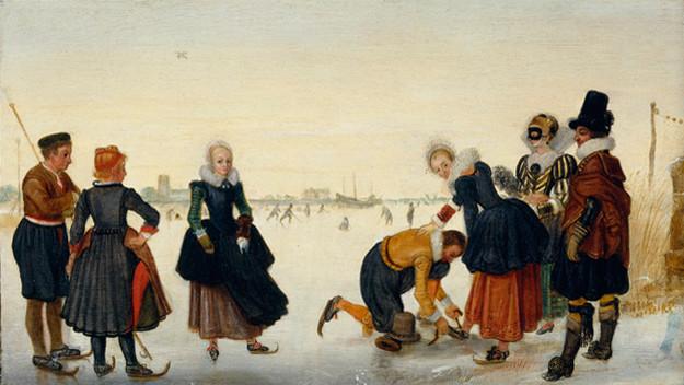 Hendrick Avercamp or Arent Arentsz. Cabel, Winter landscape with skaters