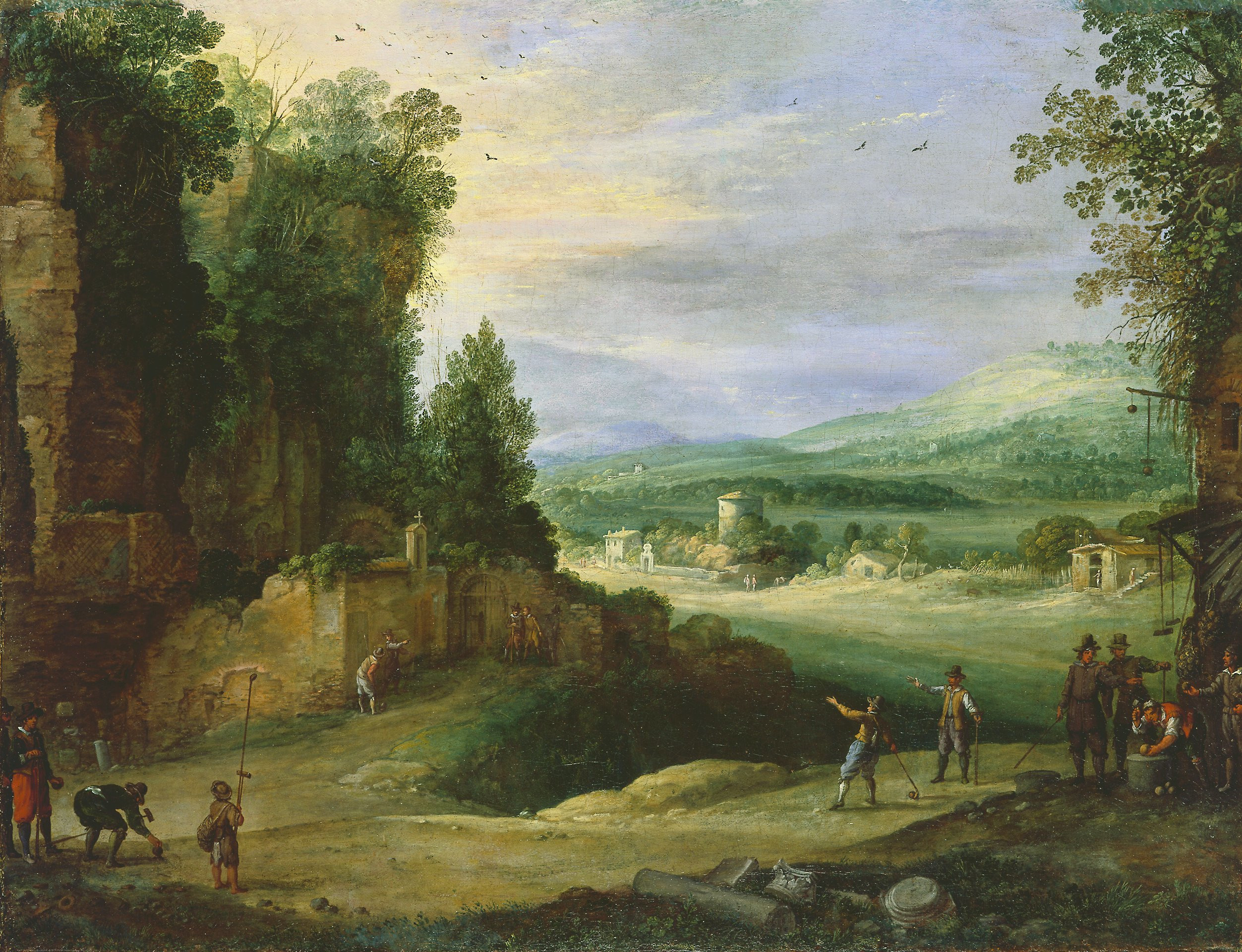 Paulus Bril, Landschap met colvers en maliespelers
