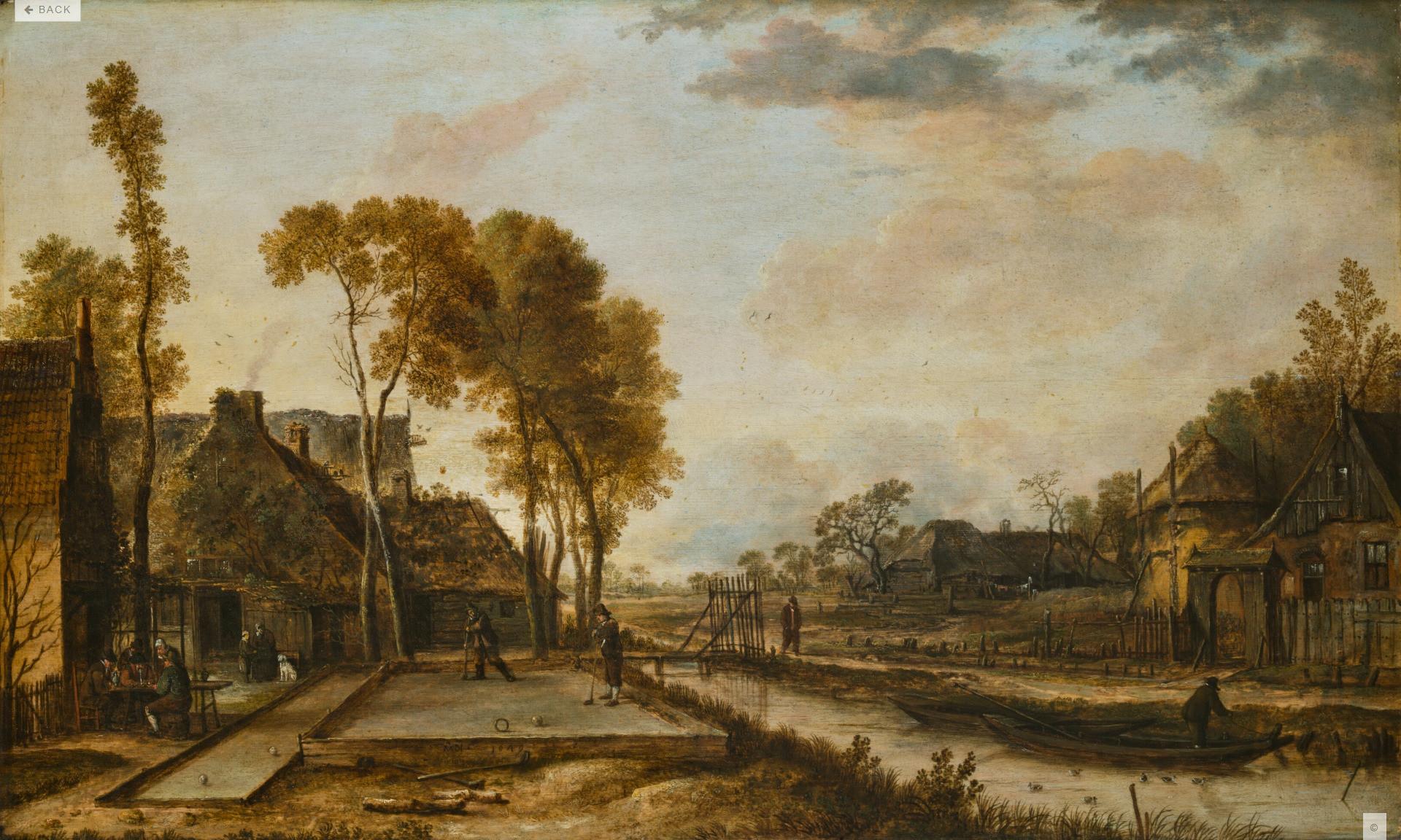 Aert van der Neer, Beugelen, 'Kolven door den beugel'. 1649