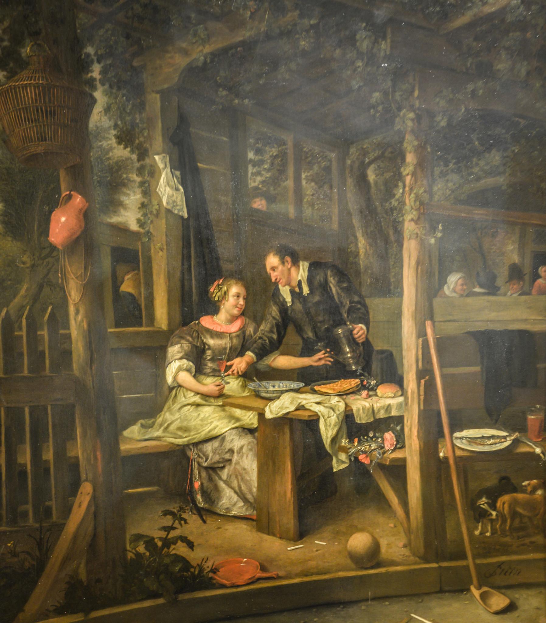 Jan Steen, Beugelen, 'Kolven door den beugel', Klossen