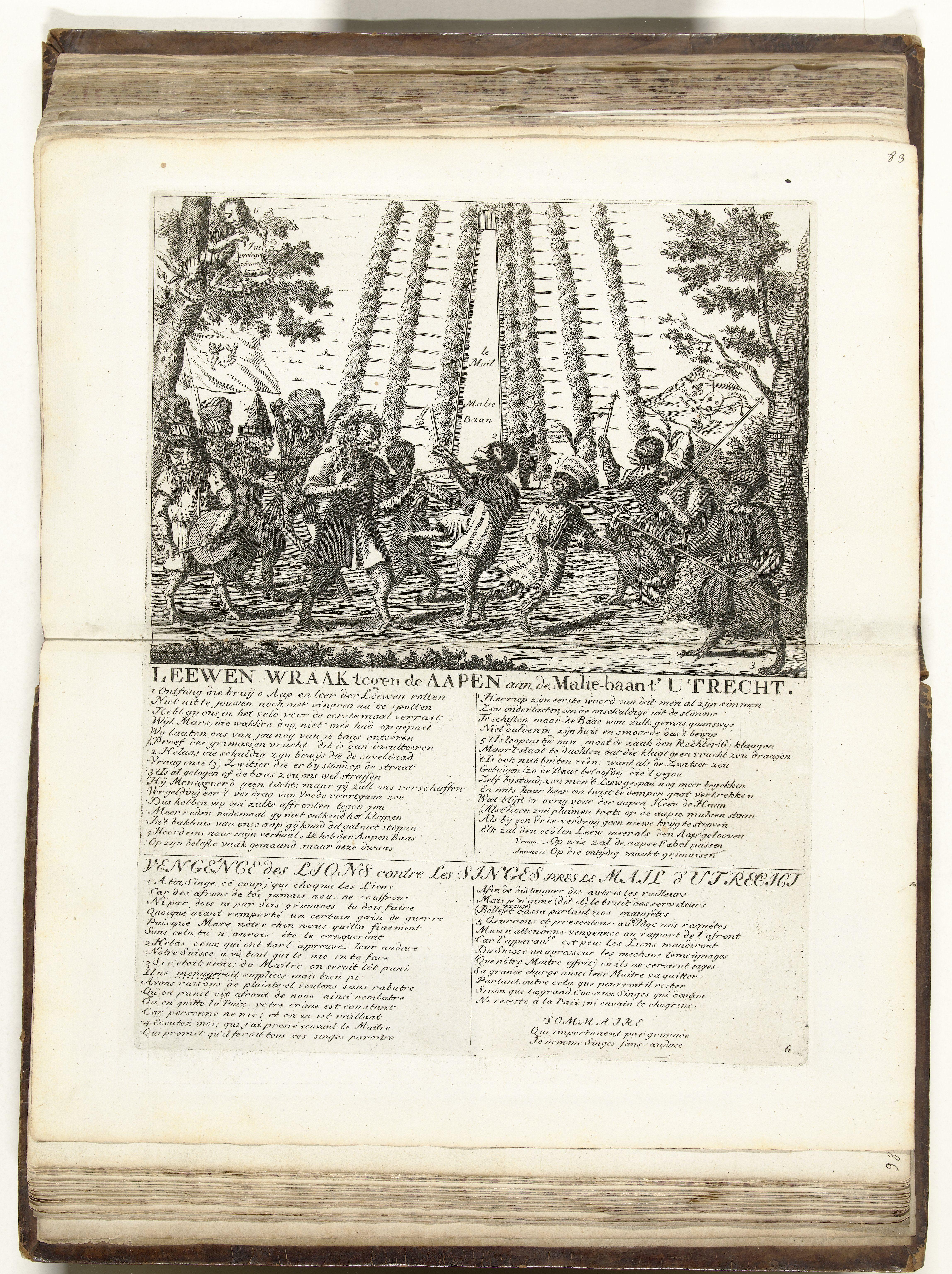 De wraak van de leeuwen tegen de apen op de Maliebaan te Utrecht, Nederland. 1713